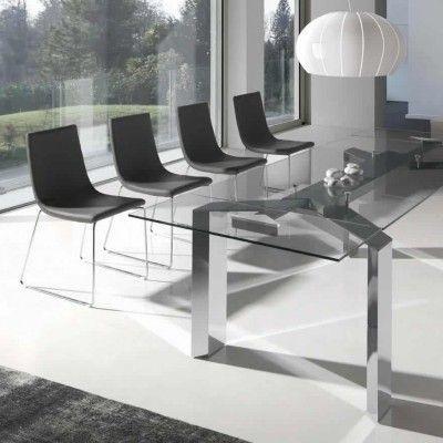 mesa de comedor patas metálicas y cristal transparente interesting