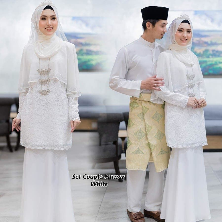 Baju nikah putih sedondon in 11  Malay wedding dress, Nikah