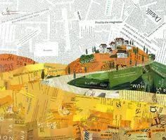 Image result for torn paper collage city architecture