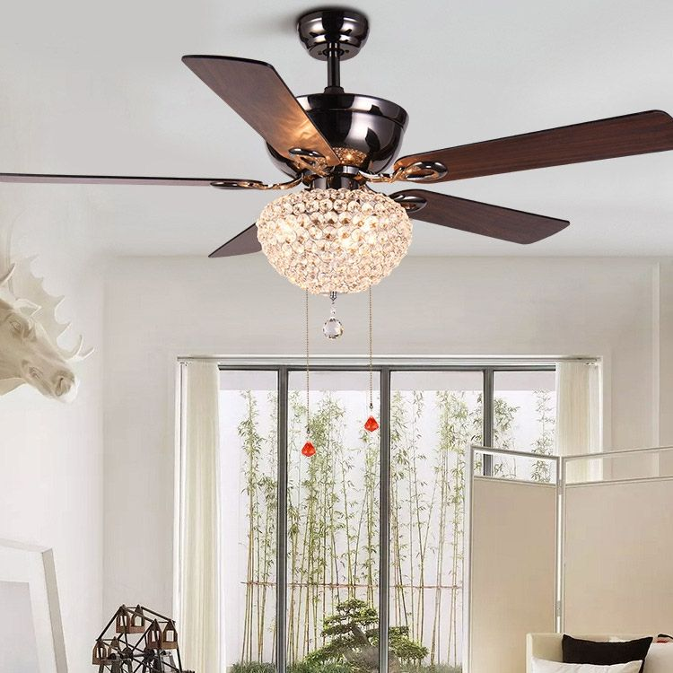 Retro 52 Ceiling Fan With Light 5 Blade Crystal Ceiling Fan With Pull Chains Light Kit Included Ceiling Fan With Light Ceiling Fan Fan Light