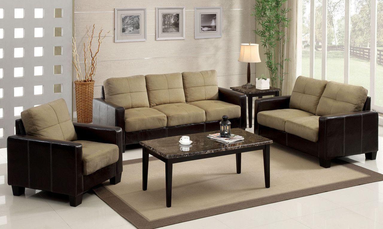Sofa Love Seat & Chair Tan/ Espresso Laverne Collection