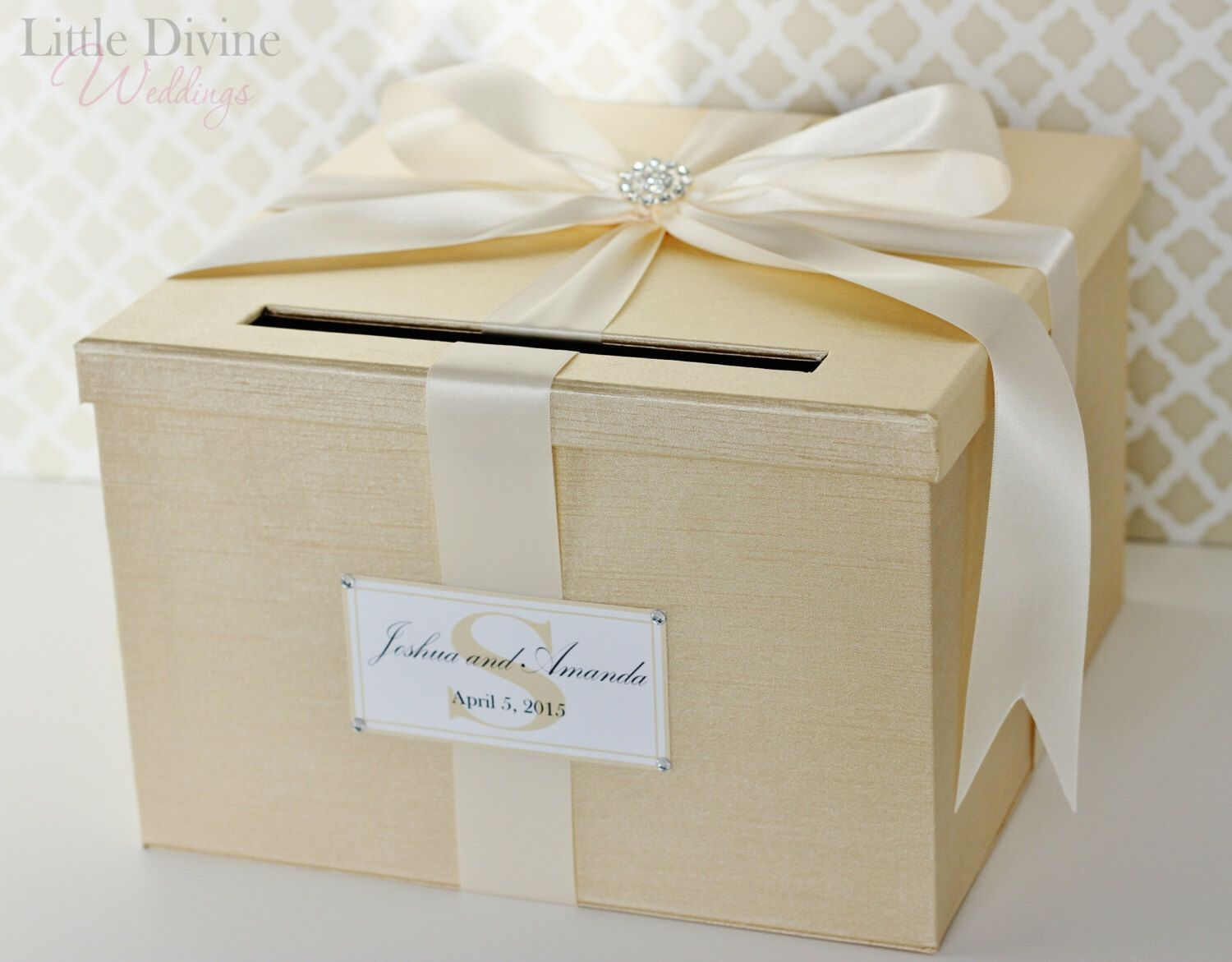Wedding Card Box Champagne Gold and Ivory Card Holder Custom Made by ...