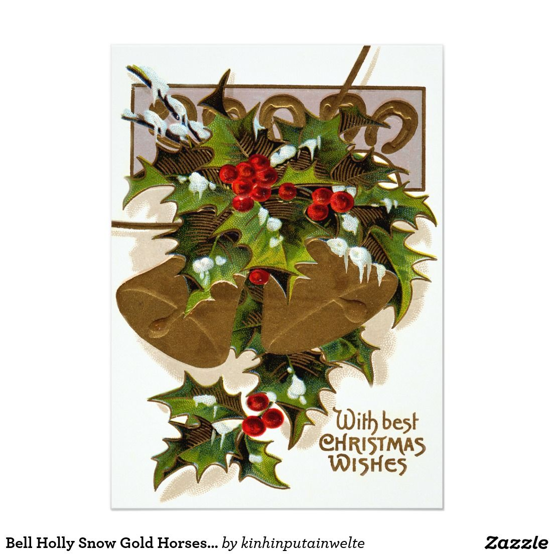 Bell Holly Snow Gold Horseshoe 5x7 Paper Invitation Card