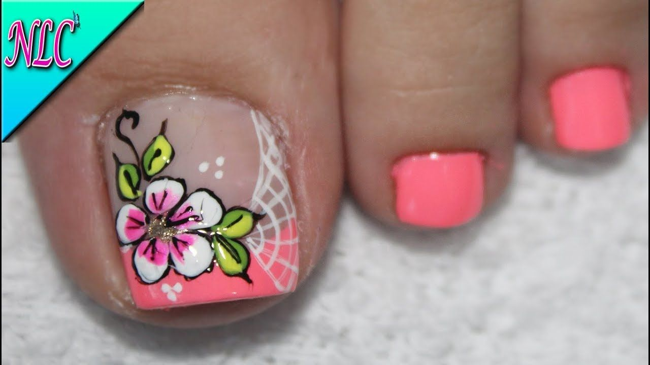 Diseño De Uñas Para Pies Flores Sencillas Flowers Nail Art