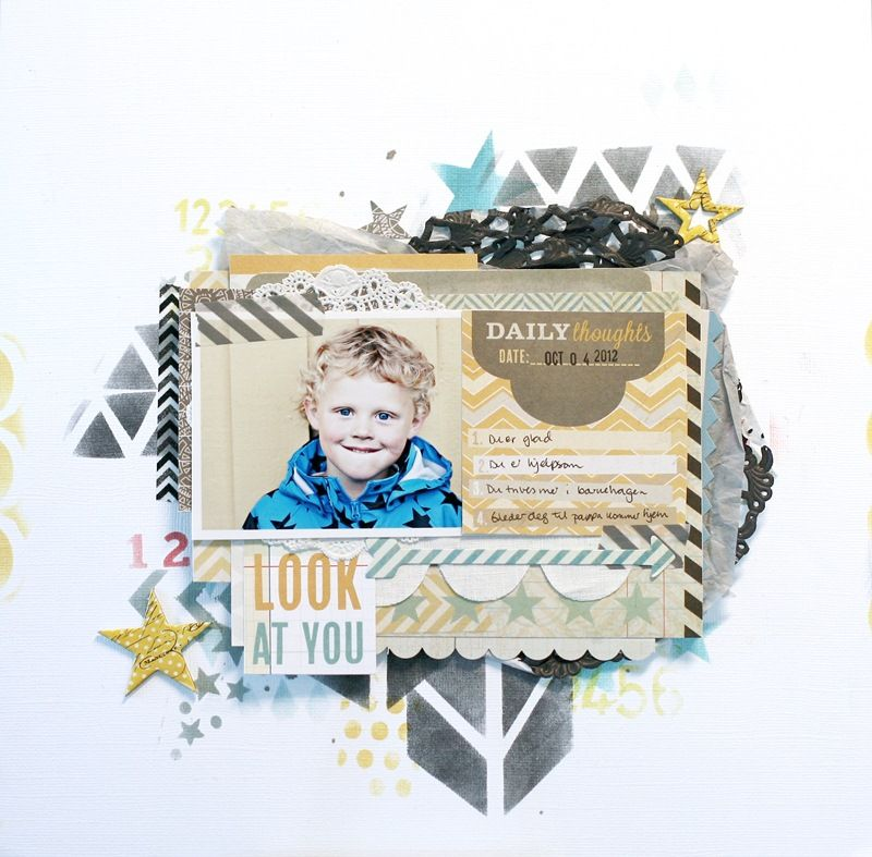 UmeNorskans scrapbookblogg: Look at you. Made by Christin Gronnslett using Pink paislee Portfolio and Artisan Elements. Crafters Workshop stencils.