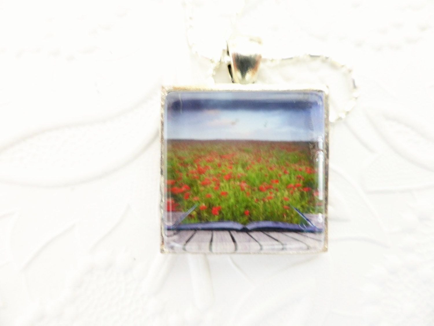 Necklace - Poppy Field Glass Pendant Necklace with a .925 Silver Plated Necklace, In Flanders Field by uBuNEEKBoutique on Etsy