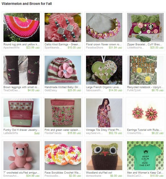 Watermelon and Brown for Fall by Lorraine from EyeGloArts https://www.etsy.com/treasury/MzI4MjI5MjN8MjcyMjI3Njc1MQ/watermelon-and-brown-for-fall