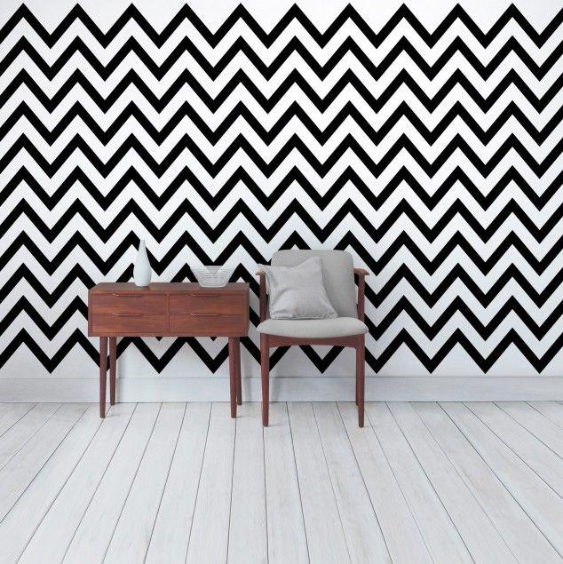 streifentapete schwarz wei zickzack gestreifte zick zack vliestapete premium breit. Black Bedroom Furniture Sets. Home Design Ideas