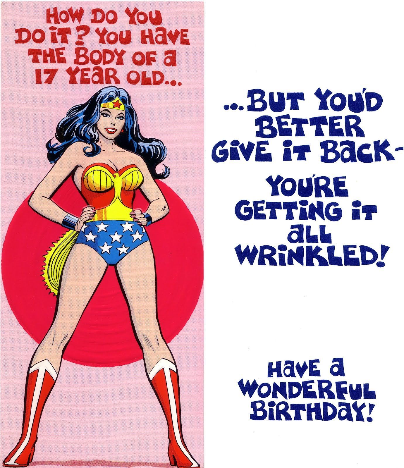 Vintage Wonder Woman Birthday Card
