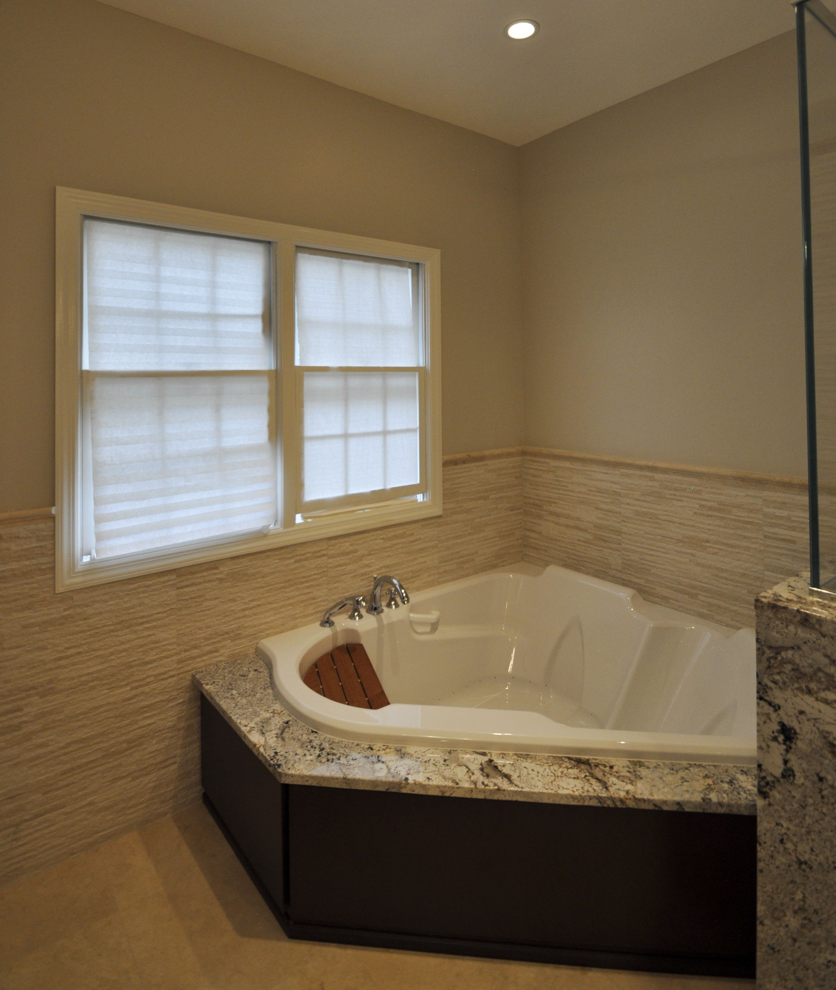 5x5 corner air tub with custom face panels to match vanity ...