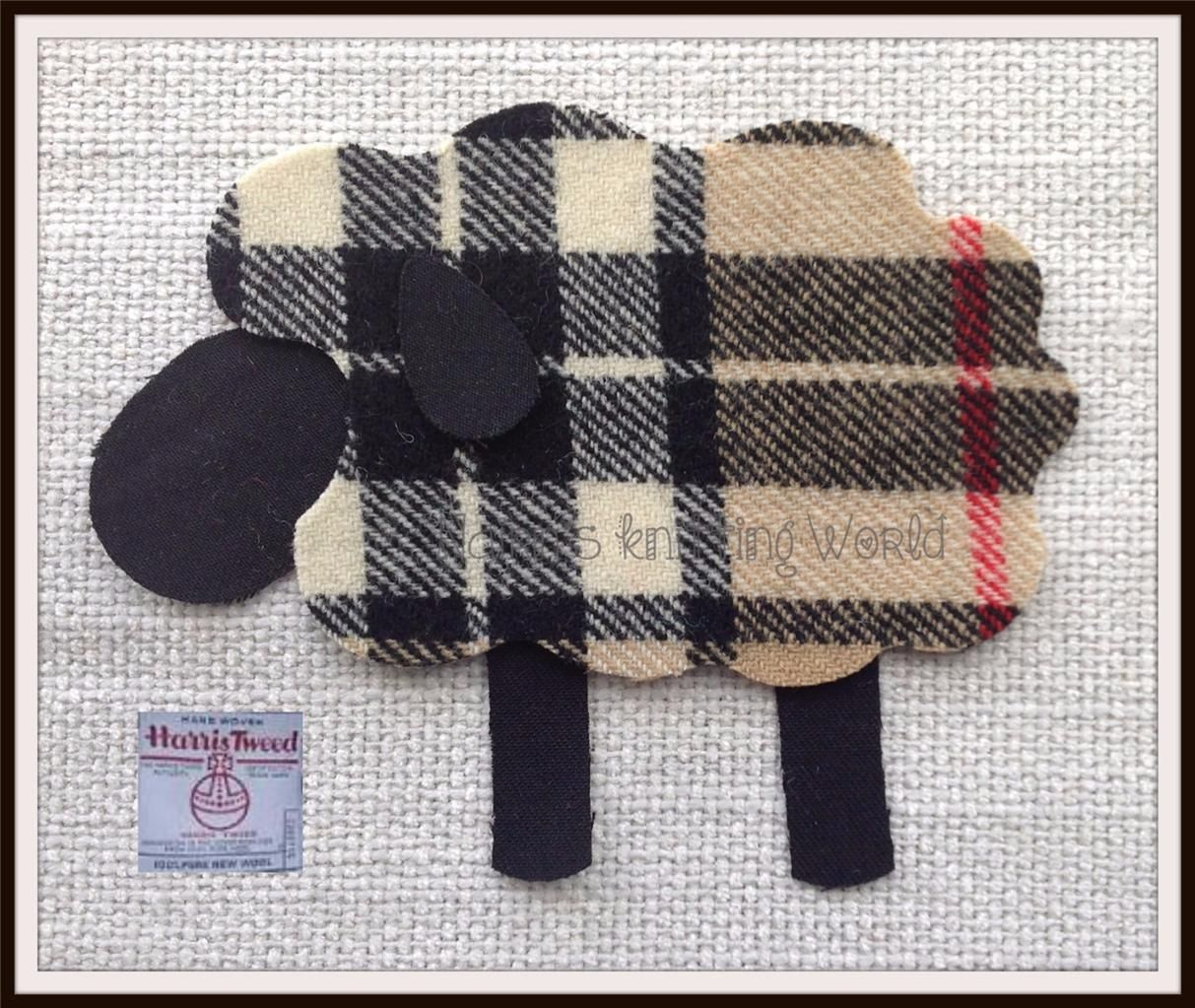 Highland Sheep Patch Applique Sew On. Cut Out Tartan Iron On Beige