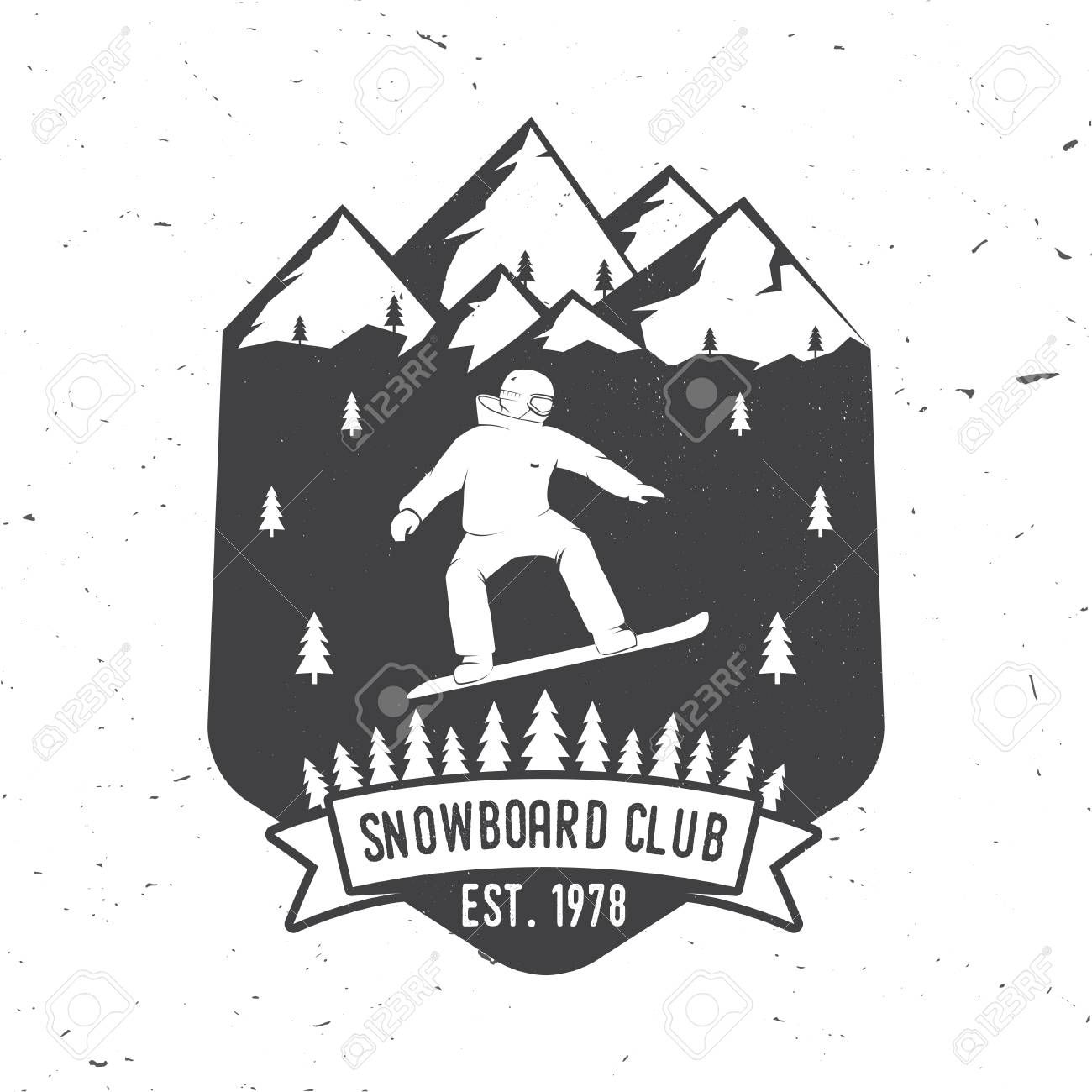 Snowboard Club Vector Illustration Concept For Shirt Or Logo Print Stamp Or Tee Spon Illustration Concept Vector Snowboard Club