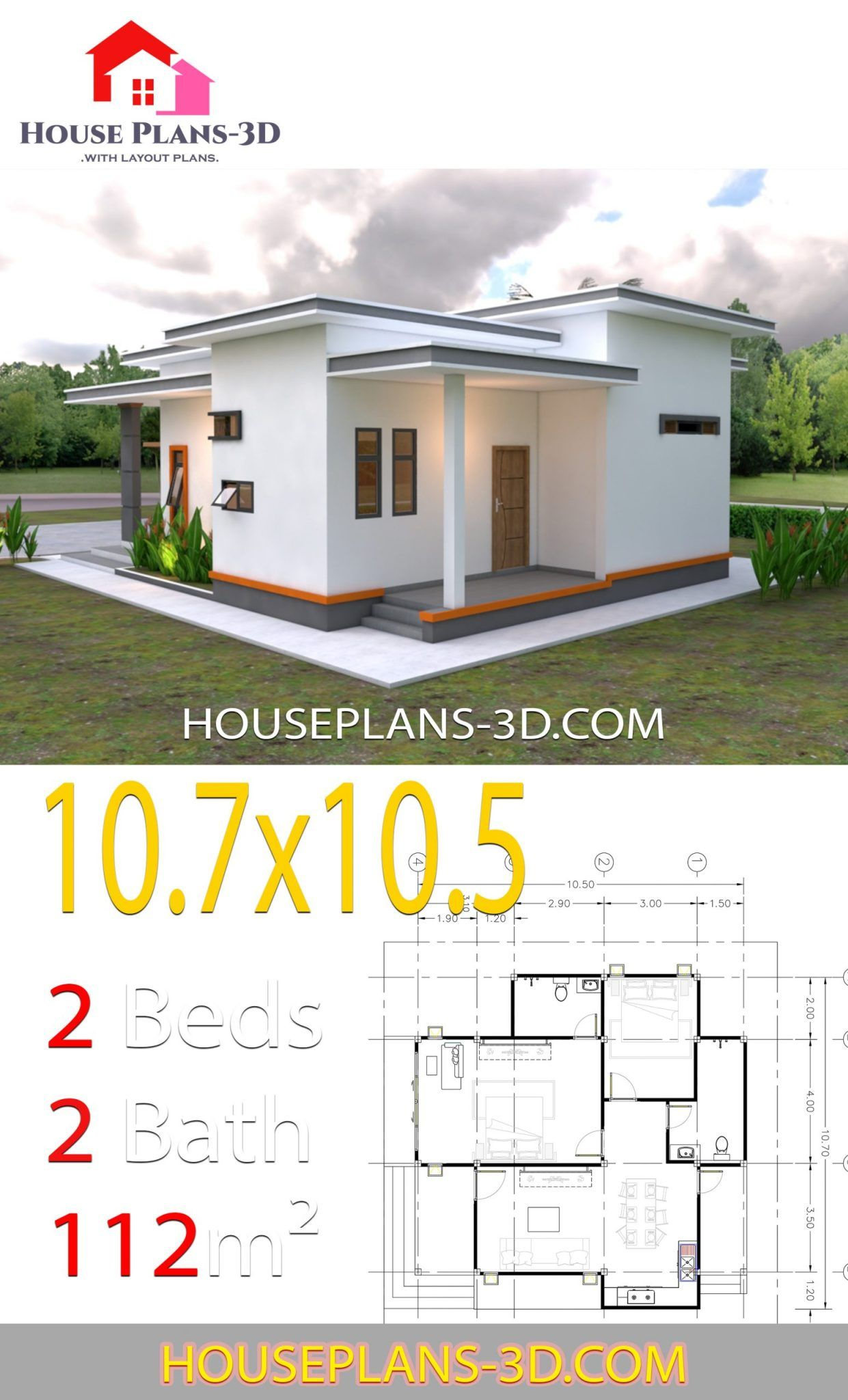 House Plans 10.7x10.5 with 2 Bedrooms Flat roof in 2020 ...