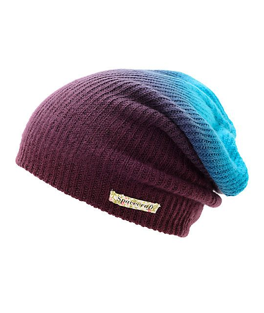 Add some color to your life with this slouch fit beanie made with a purple  to blue fade colorway 1e4e3c39c18