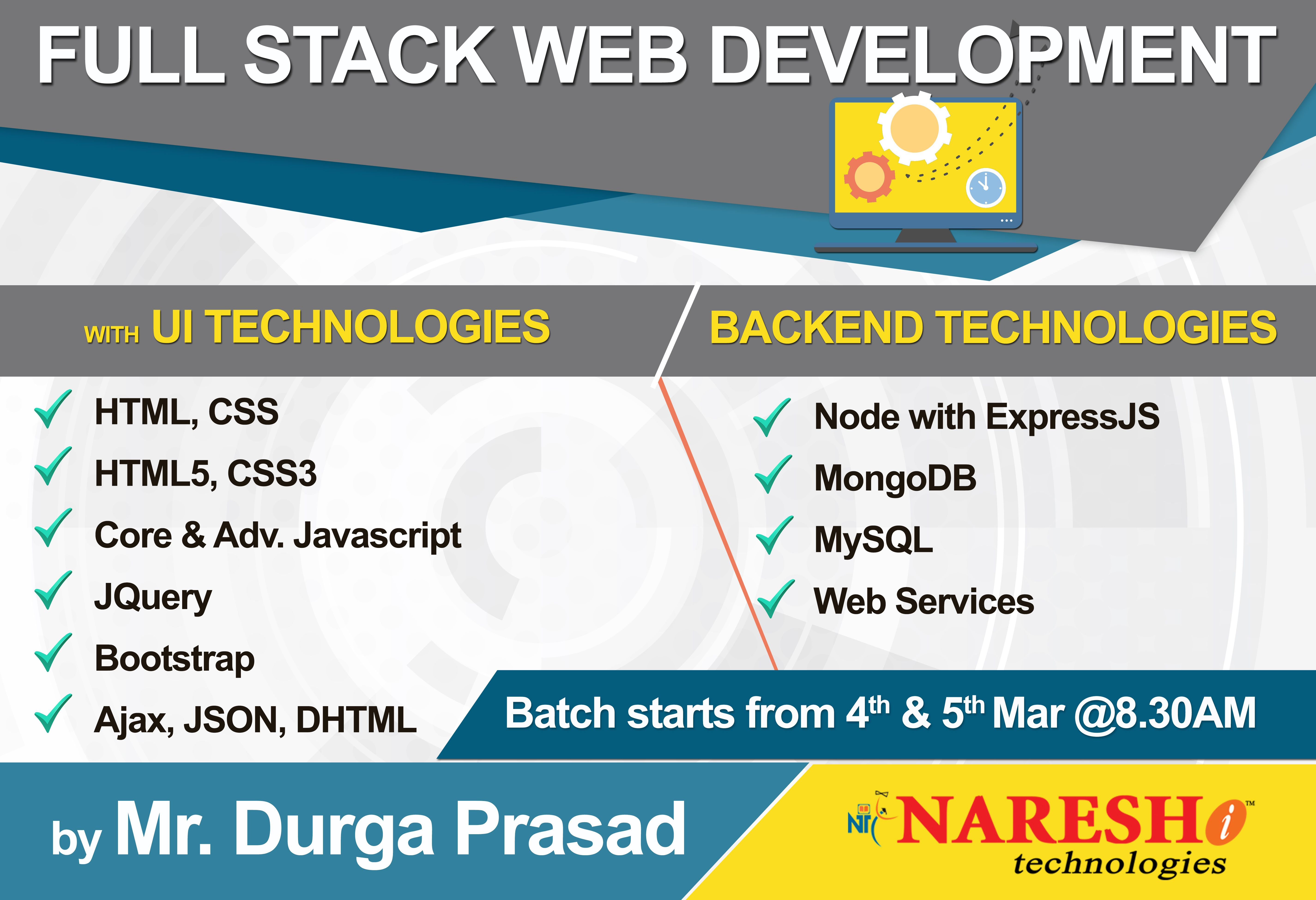 Attend Free Demo On Fullstack Web Development Training On 04th 5th March 8 30am By Mr Durgaprasad Web Development Training Full Stack Development