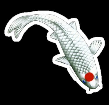 Tancho Koi Stickers By Badheadgadroon Redbubble Koi Koi Fish Stickers