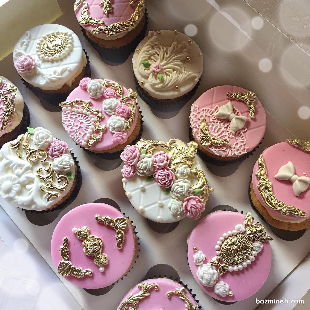 کاپ کیک های فانتزی جشن تولد دخترانه با تم سفید صورتی Cake Desserts Sugar Cookie