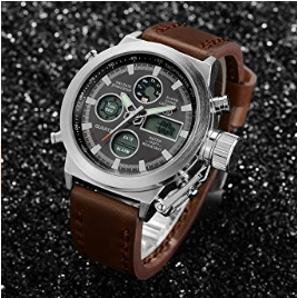 b2ec6243ae7 Tamlee Fashion Brown Leather Men s Military Watch Waterproof Analog Digital  Sports Watches for Men...for more details   buying visit link