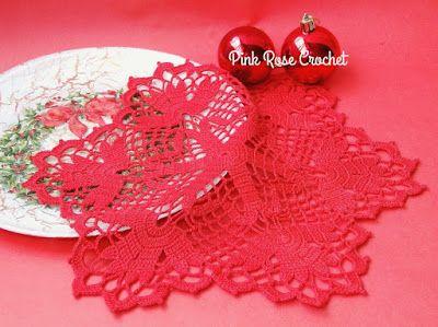 PINK ROSE CROCHET: Centrinho Crimson Doily