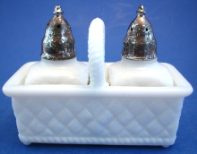 Vintage Imperial Milk Glass Salt & Pepper Shakers in Basket Holder Diamond Pattern