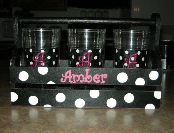 Painted polka dots & name