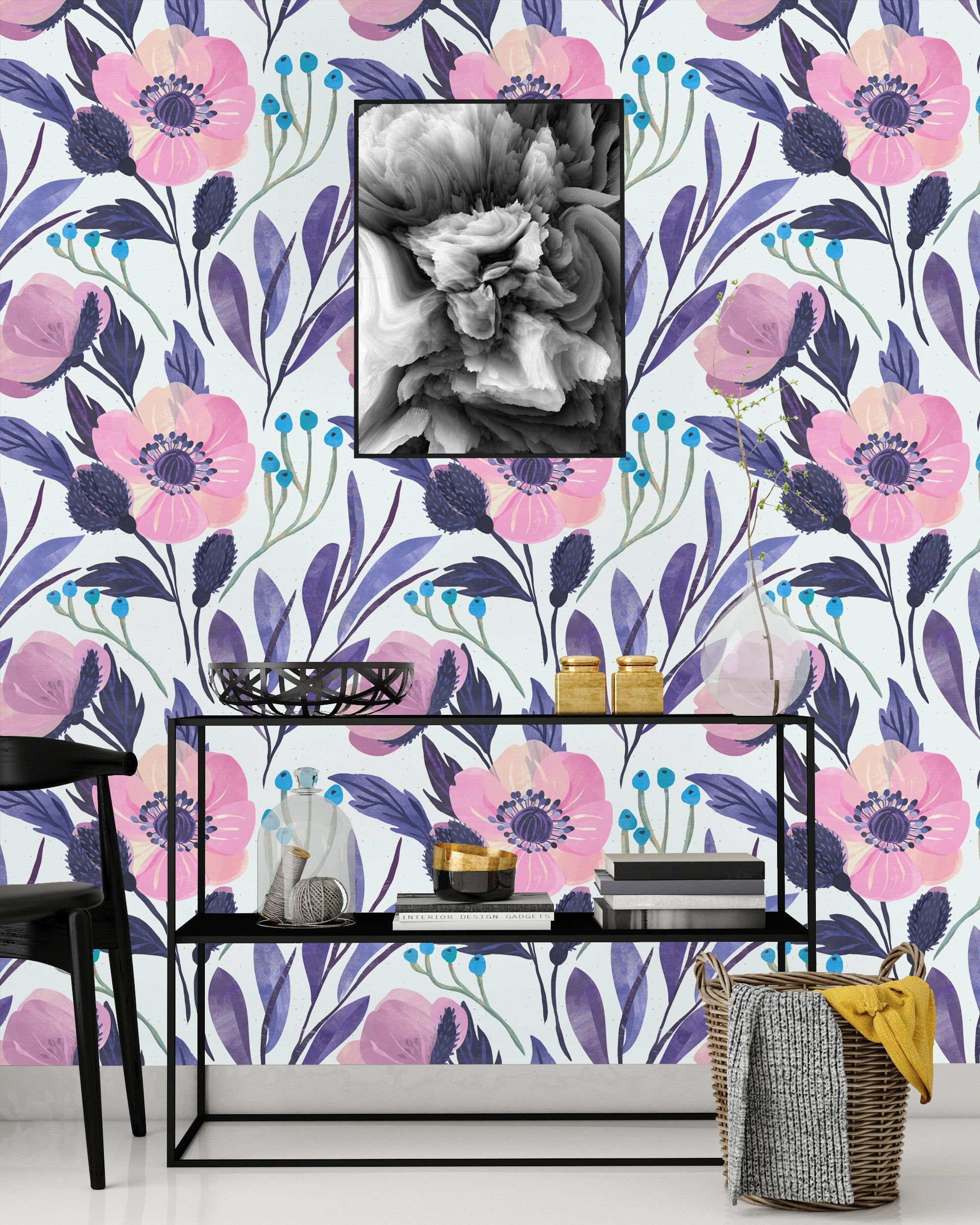 Pink And Purple Flowers Removable Wallpaper Peel Stick Mural Nursery Decor Self Adhesive Wallpaper Panels Nursery Mural Peel And Stick Wallpaper