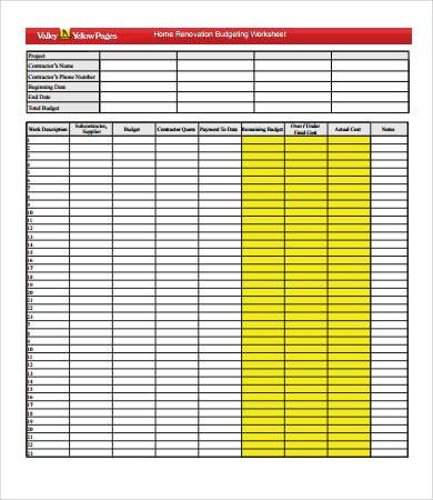 Home Renovation Budget Worksheet  Home Budget Template