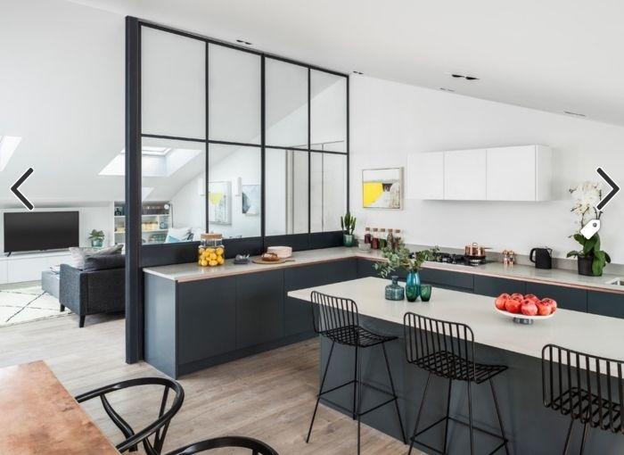 1001 id es pour la cuisine ouverte avec verri re cuisine pinterest cuisine ouverte. Black Bedroom Furniture Sets. Home Design Ideas