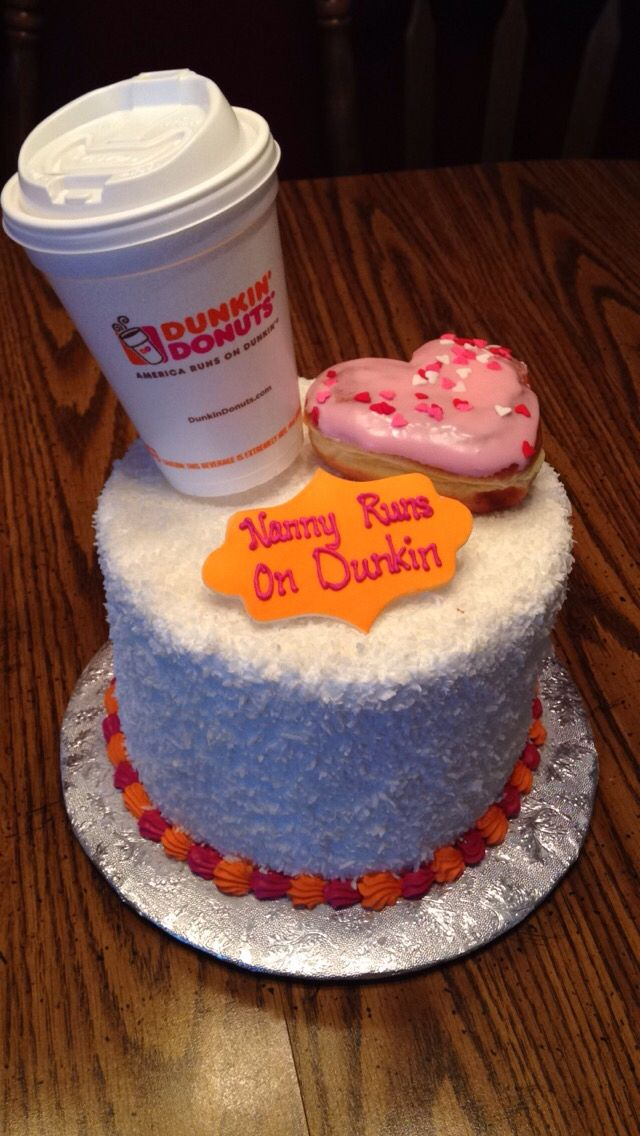 Peachy Dunkin Donuts Birthday Cake Nanny Runs On Dunkin Cake Donuts Personalised Birthday Cards Paralily Jamesorg