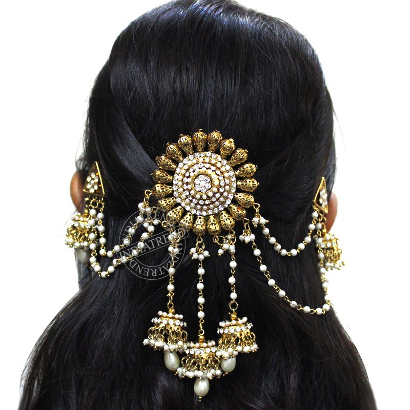 Hair Bun Style For Indian Wedding: Sabreen Hair Bun Pin By Indiatrend. Shop Now At WWW