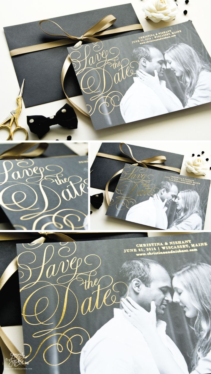 save the date gold foil photo save the date cards heirloom