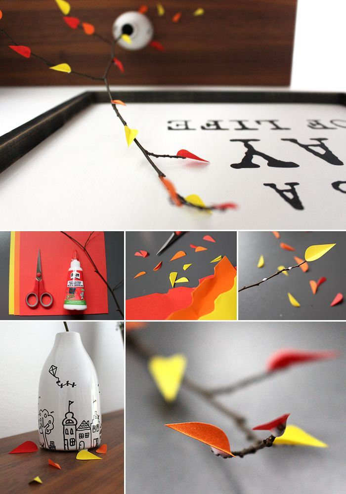 DIY, Gingered Things, autum, decoration, paper, twig, Herbstdeko, Zweig, Papier, Blätter