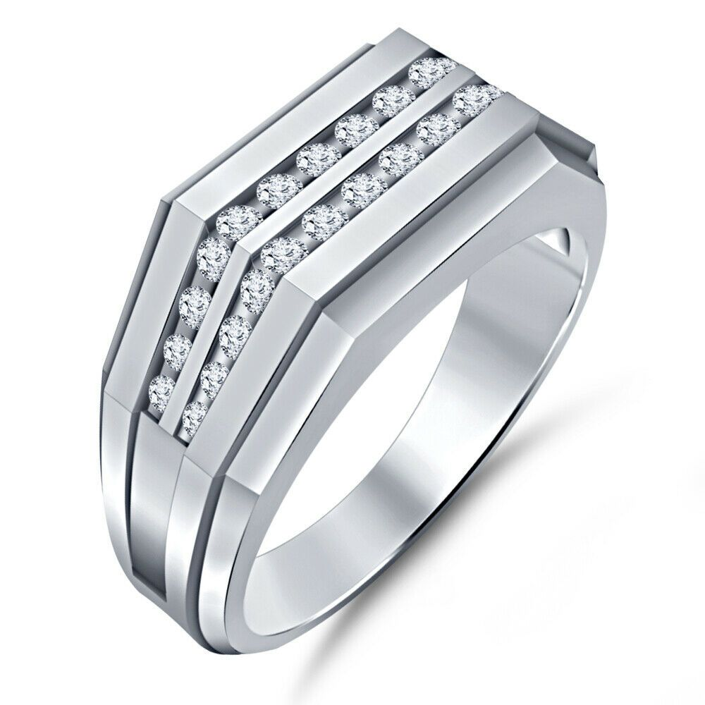 1 35 Ct Diamond Engagement Mens Pinky Ring 14k White Gold Over
