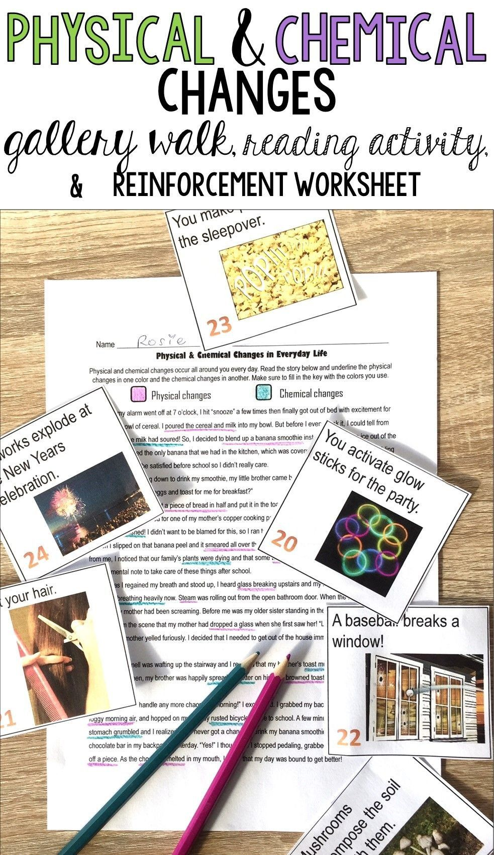 Physical And Chemical Changes Worksheet Physical And Chemical Changes Identifying Eve In 2020 Chemical Changes Chemical And Physical Changes Science Teaching Resources