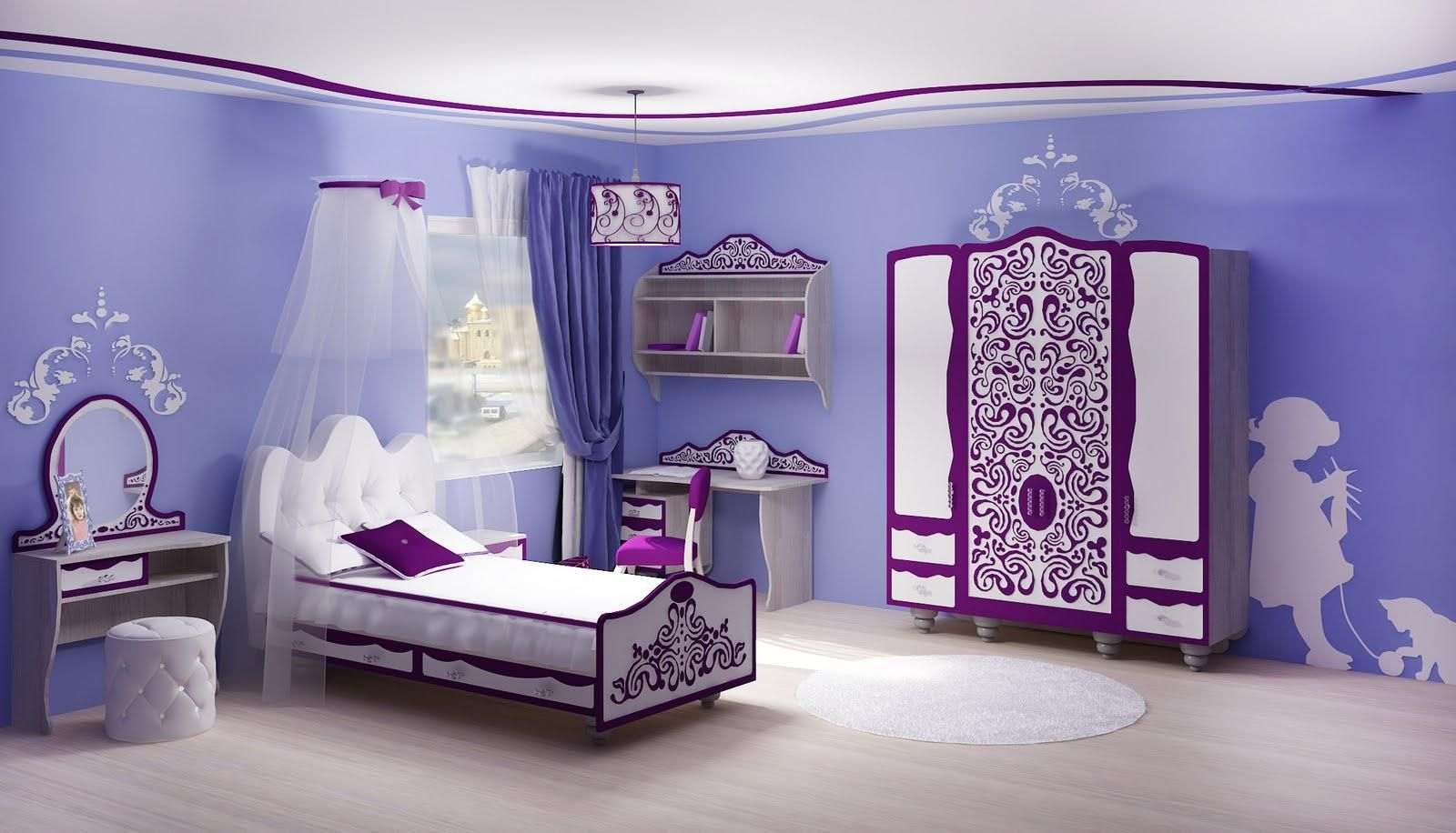 Purple room paint ideas - Fabulous Bedroom Paint Ideas With Light Blue Painting Wall Also White Purple Paint Furniture Set Plus