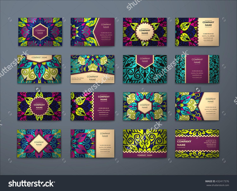 Vector Vintage Business Cards Big Set Floral Mandala Pattern And