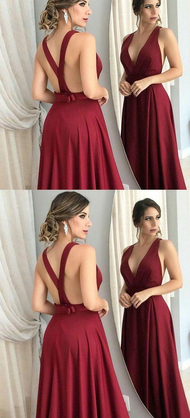 Gorgeous v neck burgundy long prom dress evening dress