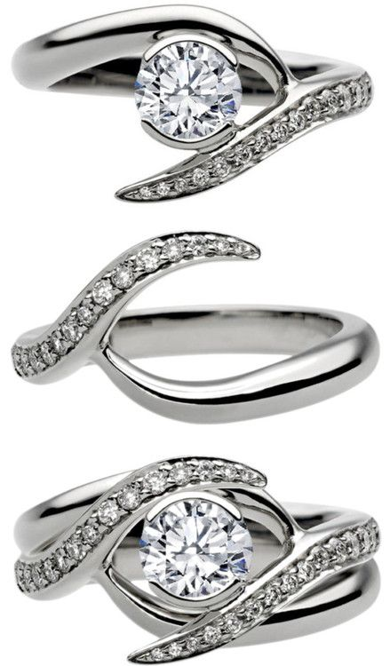 Entwined Bridal Set Engagement Ring Matching Wedding Ring