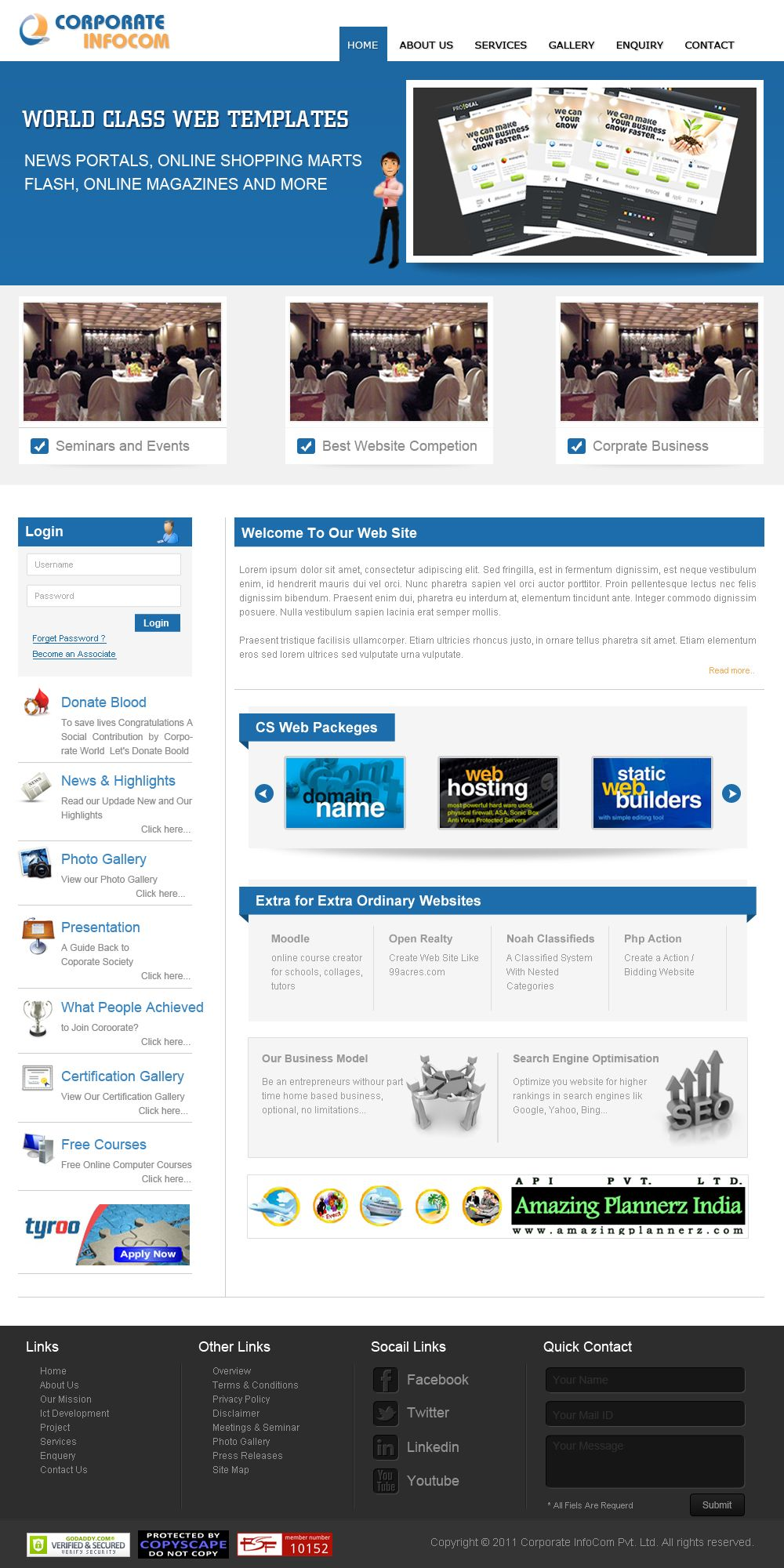 This Website Layout Design For Demo Template For Corporate Infocom