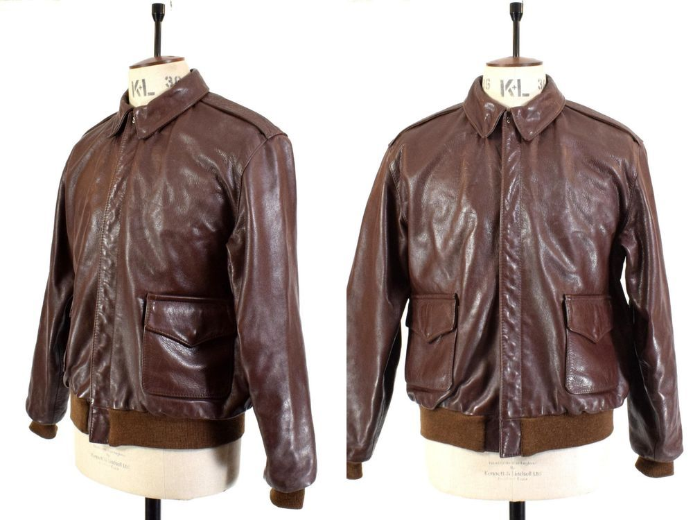 0ffa808ca Men's Vintage Type A-2 Brown Aviator REAL LEATHER US AIR FORCE ...