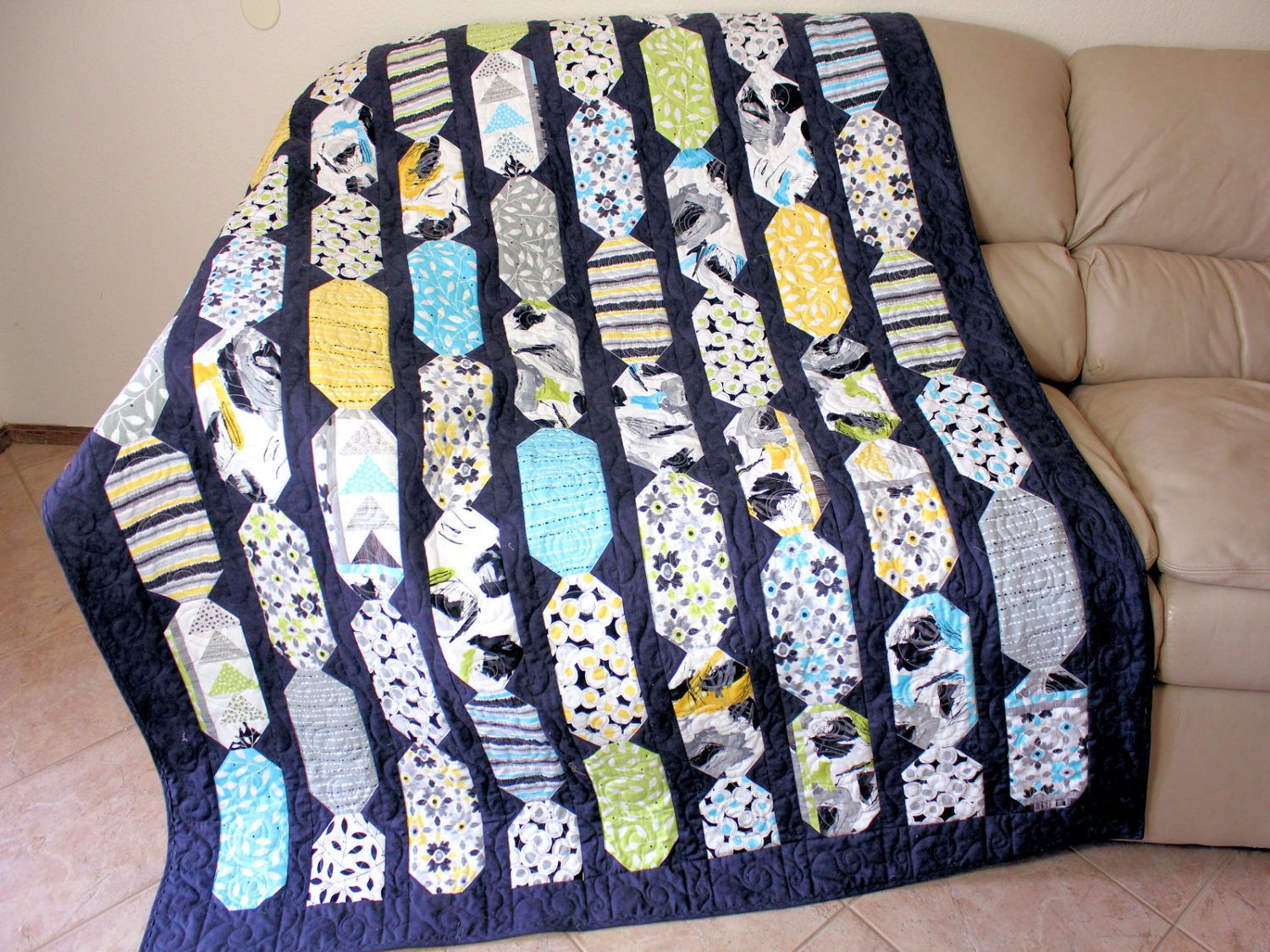 Sofa Throw Wall Hanging or Throw Hand Quilted Lap Quilt Lap Quilt Blue and Coral Patchwork