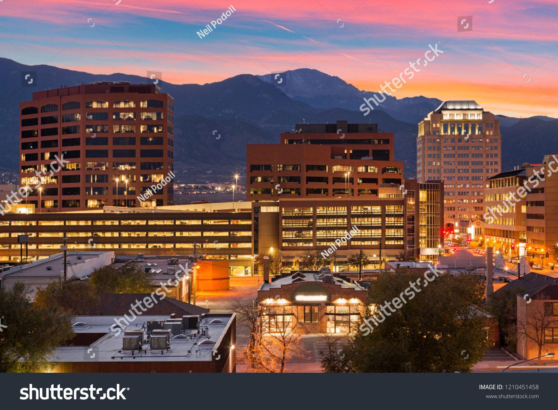 Downtown Colorado Springs At Duskcolorado Downtown Dusk Springs Best Places To Live Colorado City Colorado Springs