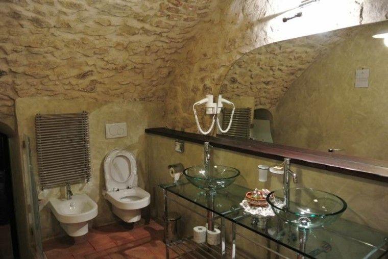 Cuartos de ba o rusticos 50 ideas con madera y piedra - Banos con paredes de piedra ...