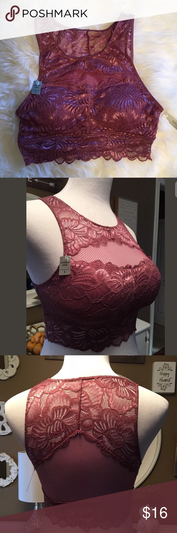 ef3212a341f08 Sophie B Lace Mesh High Neck Rose Bralette Sophie B Lace Mesh High Neck  Rose Pink Bralette Removable Pads Sz S NWT  42 Sophie B. Intimates   Sleepwear  Bras