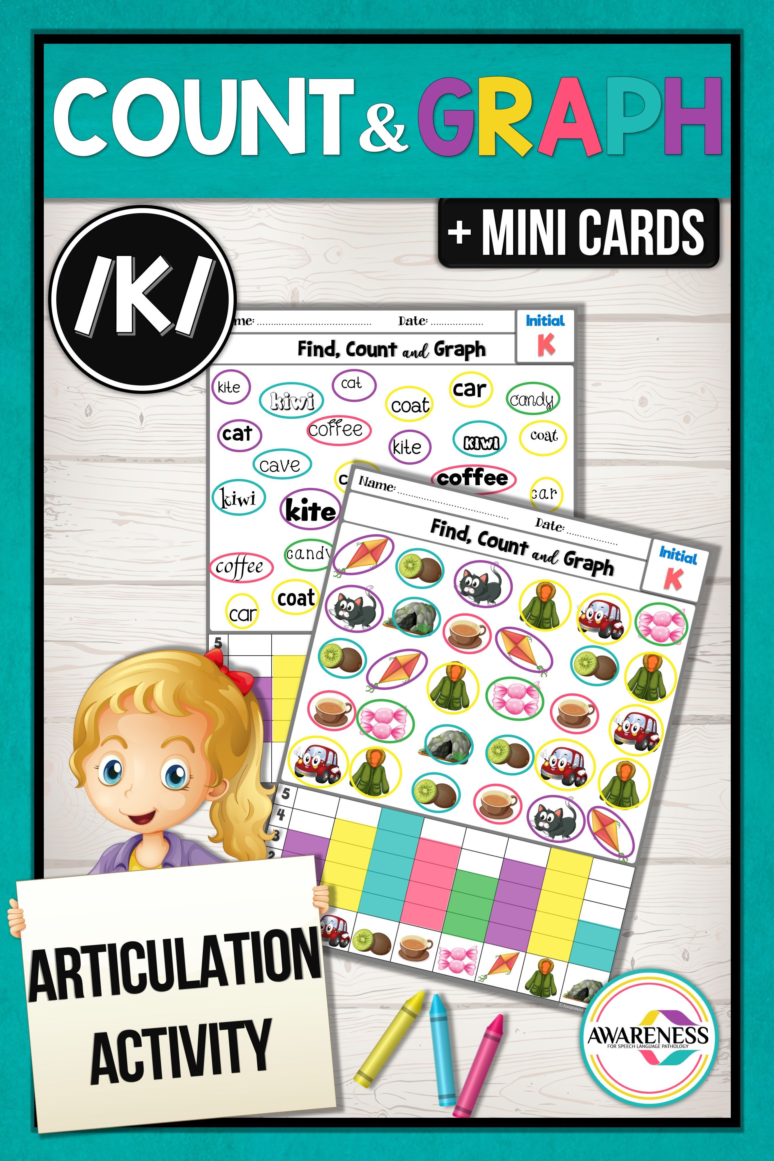 K Articulation Activity K Sound Count Amp Graph No Prep