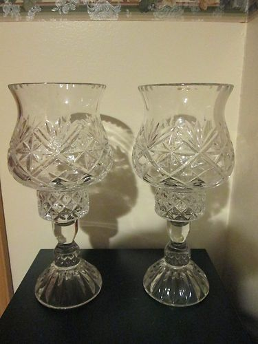 Vintage Pair Of 2 Block Crystal Olympic Hurricane Candle