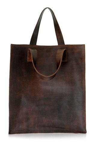 Brown leather shopper bag. Handmade from high quality material. SIMPLICITY collection