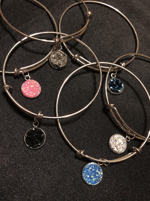 Druzy Charm Stackable Bangle Bracelet 12mm Silver Blue Pink