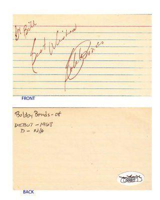 Bobby Bonds SF Giants Signed 3x5 Index Card JSA COA  $3500 Major