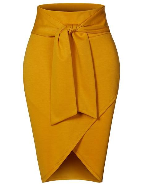 Asymmetrical High Waisted Self Tie Casual Formal Pencil Midi Skirt (CLEARANCE)